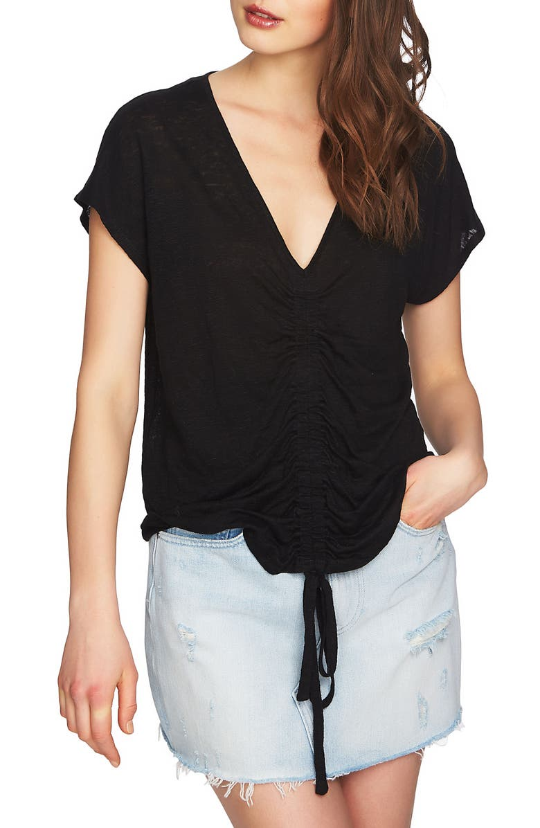 1.STATE Cinched Front Linen Top, Main, color, 006