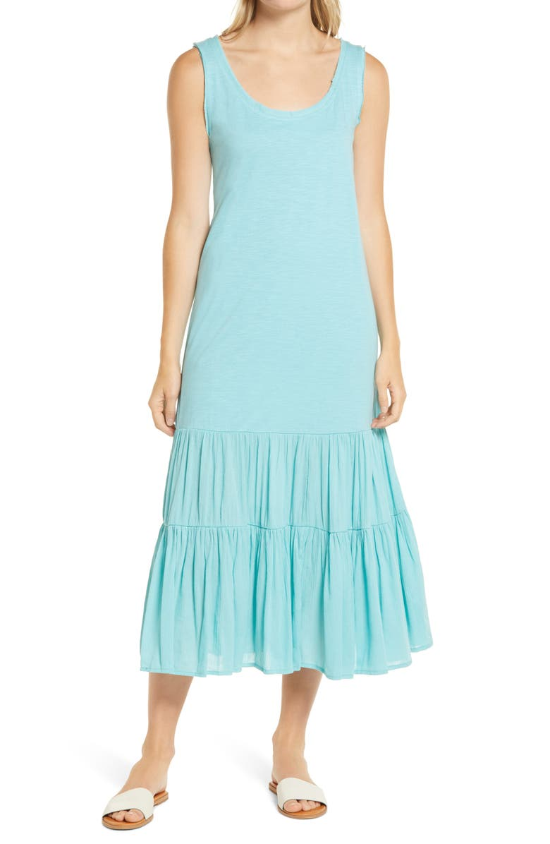 CASLON<SUP>®</SUP> Mixed Media Drop Waist Maxi Dress, Main, color, TEAL SHORE