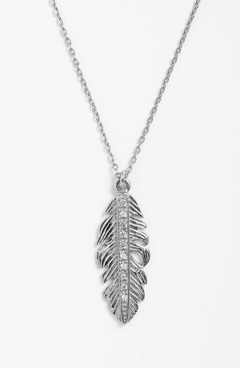 MELINDA MARIA Small Feather Pendant Necklace, Main, color, 040