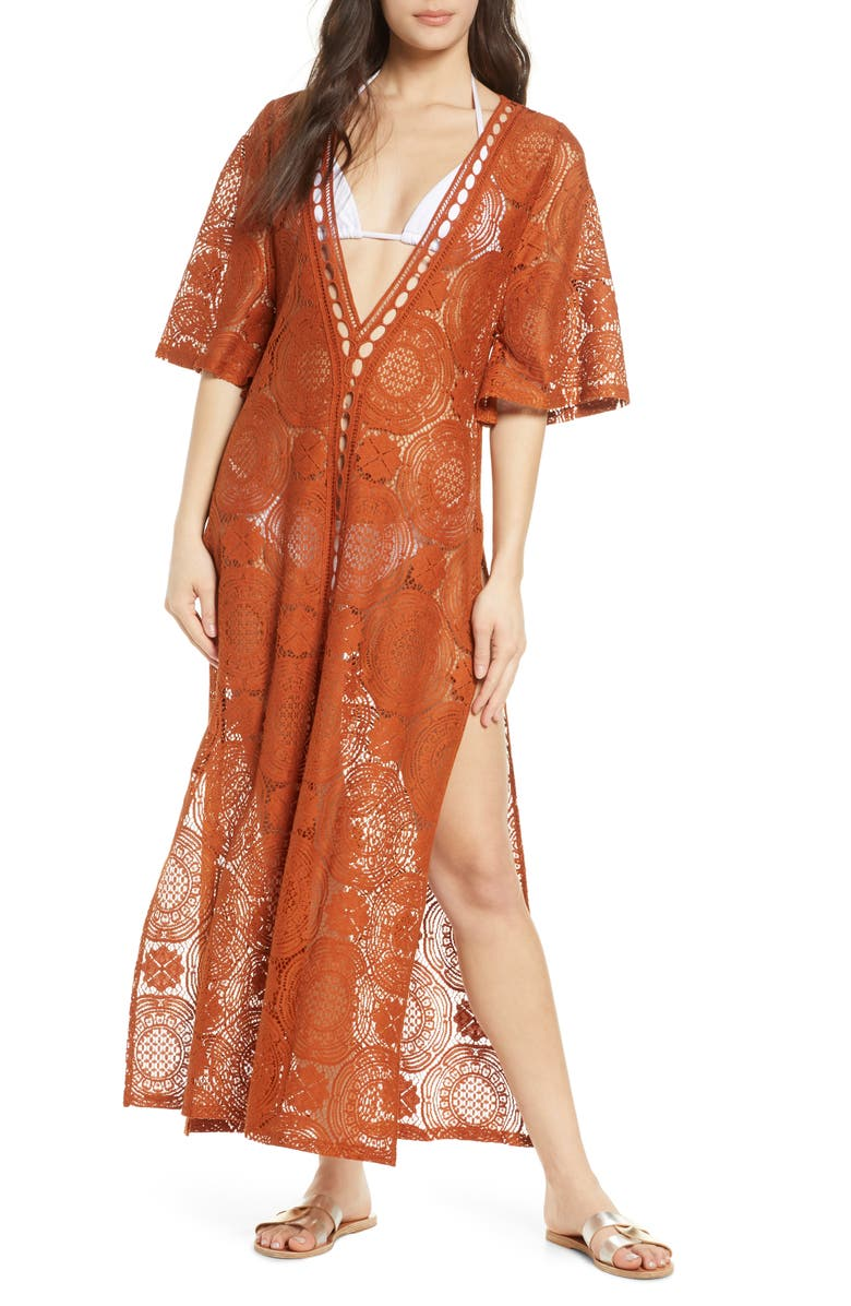 CHELSEA28 Lace Cover-Up Maxi Dress, Main, color, RUST GINGERSNAP