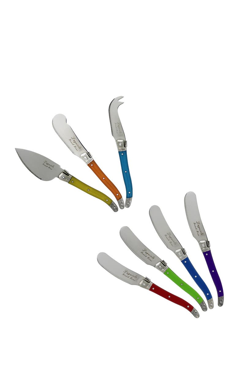 FRENCH HOME 7-Piece Laguiole Jewel Colors Cheese Knife & Spreader Set, Main, color, MULTI COLOR