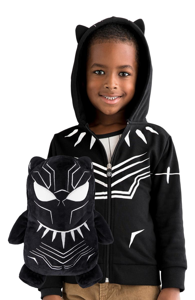 CUBCOATS Marvel<sup>®</sup> 2018 Black Panther<sup>®</sup> 2-in-1 Stuffed Animal Hoodie, Main, color, BLACK