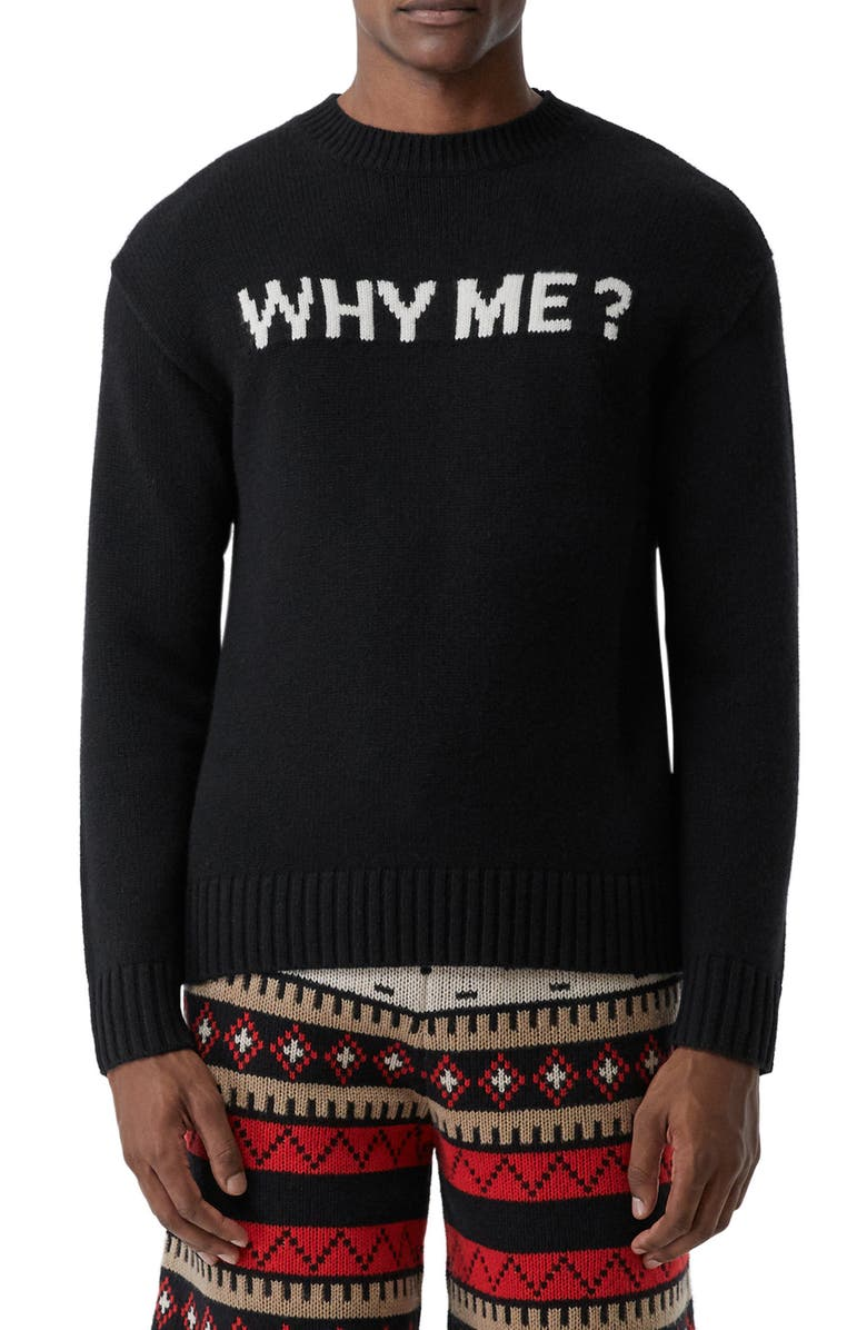 BURBERRY Corby Why Me Cashmere Sweater, Main, color, 001