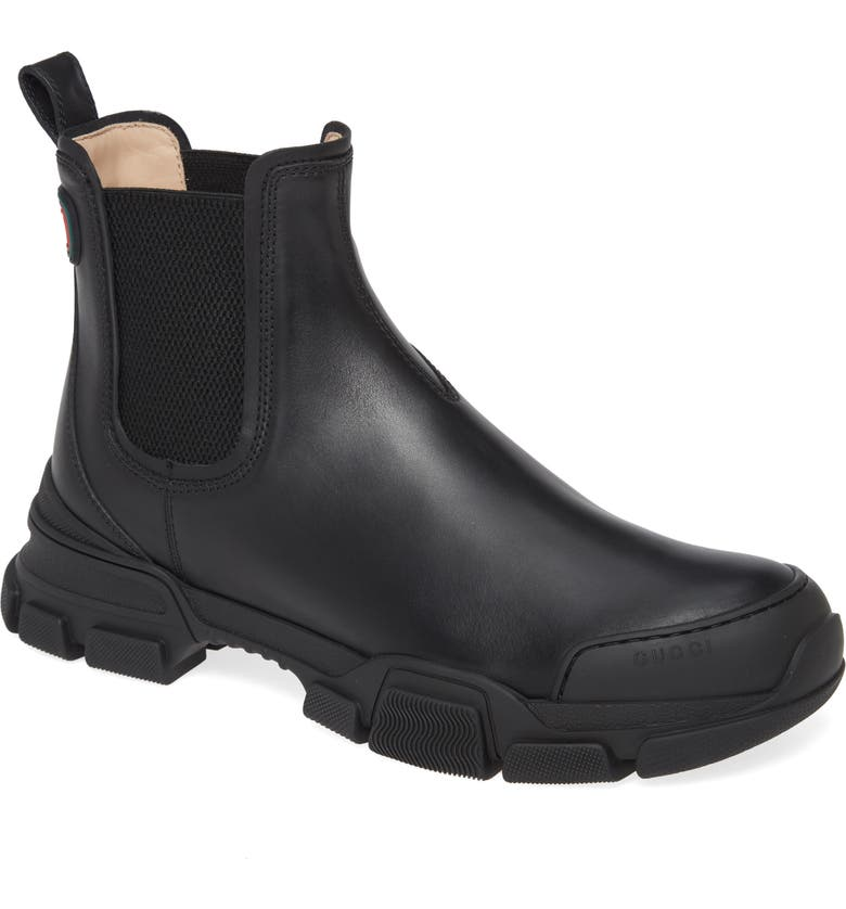 GUCCI Leon Chelsea Boot, Main, color, 001