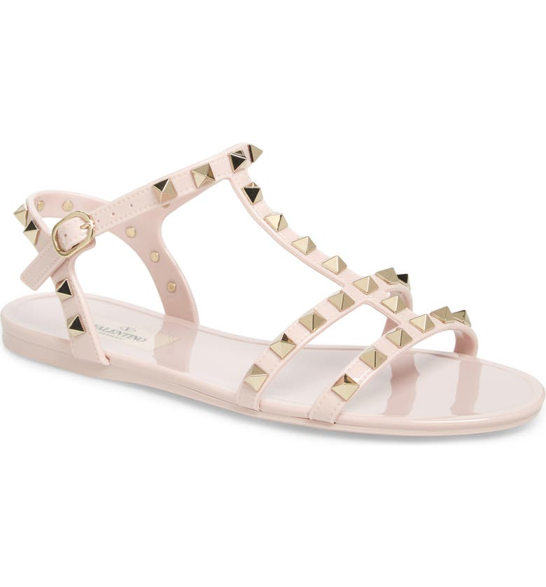 VALENTINO GARAVANI Rockstud Sandal, Main, color, WATER ROSE