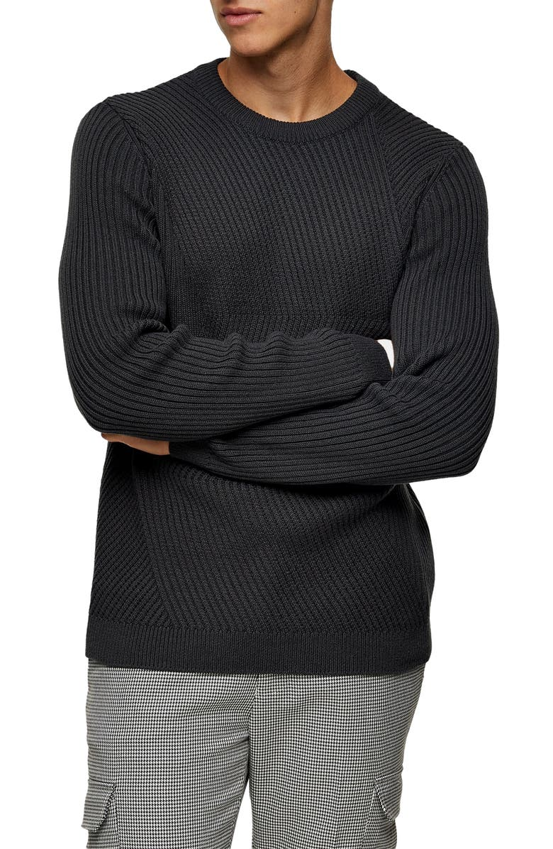 TOPMAN Chevron Ribbed Crewneck Sweater, Main, color, CHARCOAL