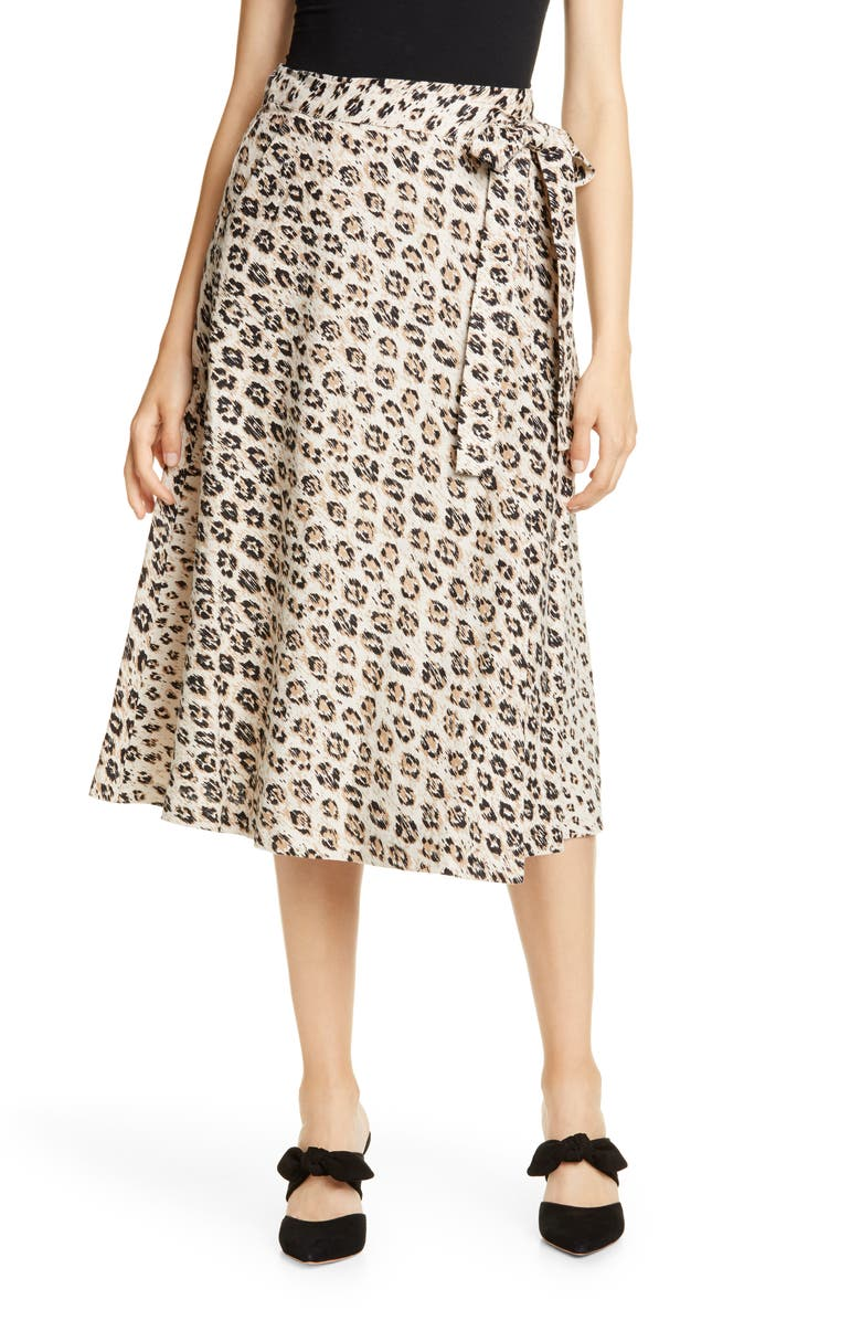 JOIE Collen Linen A-Line Skirt, Main, color, CAPPUCCINO