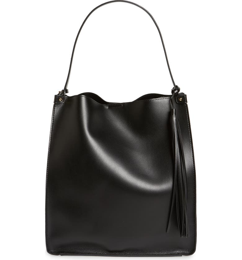 SOLE SOCIETY Karlie Faux Leather Bucket Bag, Main, color, 001
