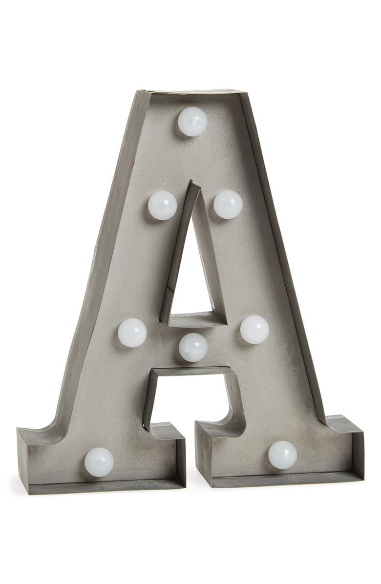 CREATIVE CO-OP Timed LED Marquee Initial Light, Main, color, GREY A