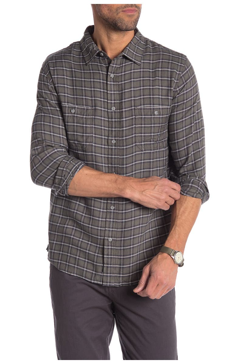 ONIA Liam Plaid Relaxed Fit Shirt, Main, color, CHARCOAL
