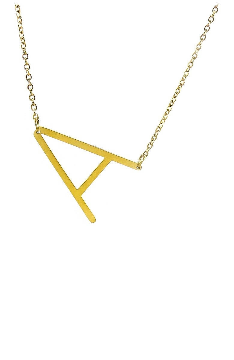 SAVVY CIE JEWELS 14K Gold Plated Initial Pendant Necklace with Gift Box - Multiple Letters Available, Main, color, YELLOW