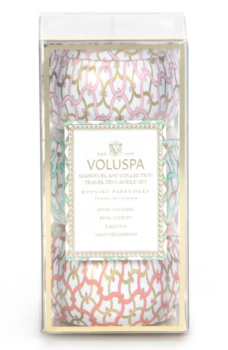 VOLUSPA 'Maison Blanc' Mini Tin Candle Trio, Main, color, 000