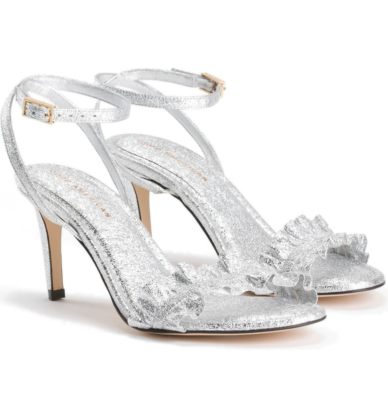 GOOD AMERICAN The Show Off Ankle Strap Sandal, Main, color, SILVER CRACKLE LEATHER