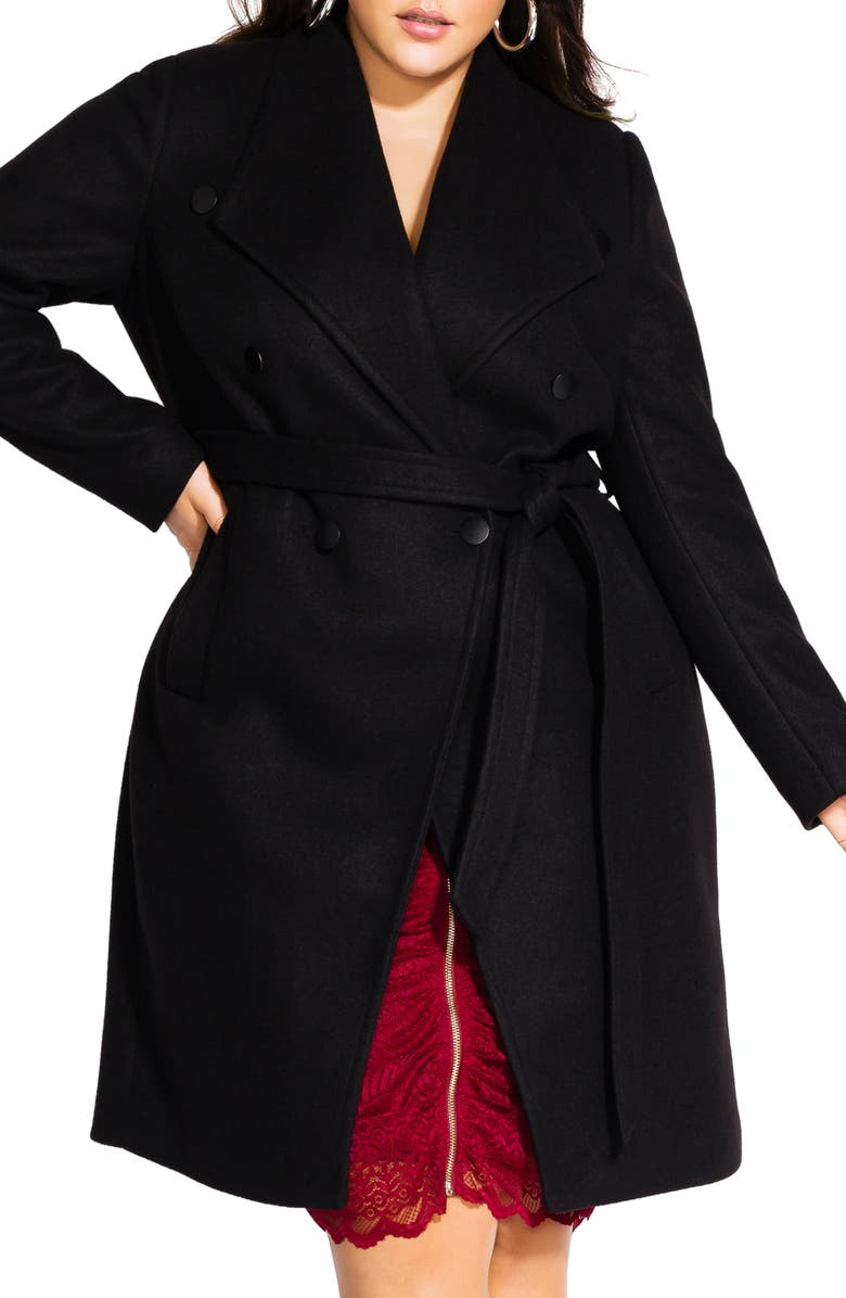 CITY CHIC Sultry Military Coat, Main, color, 001