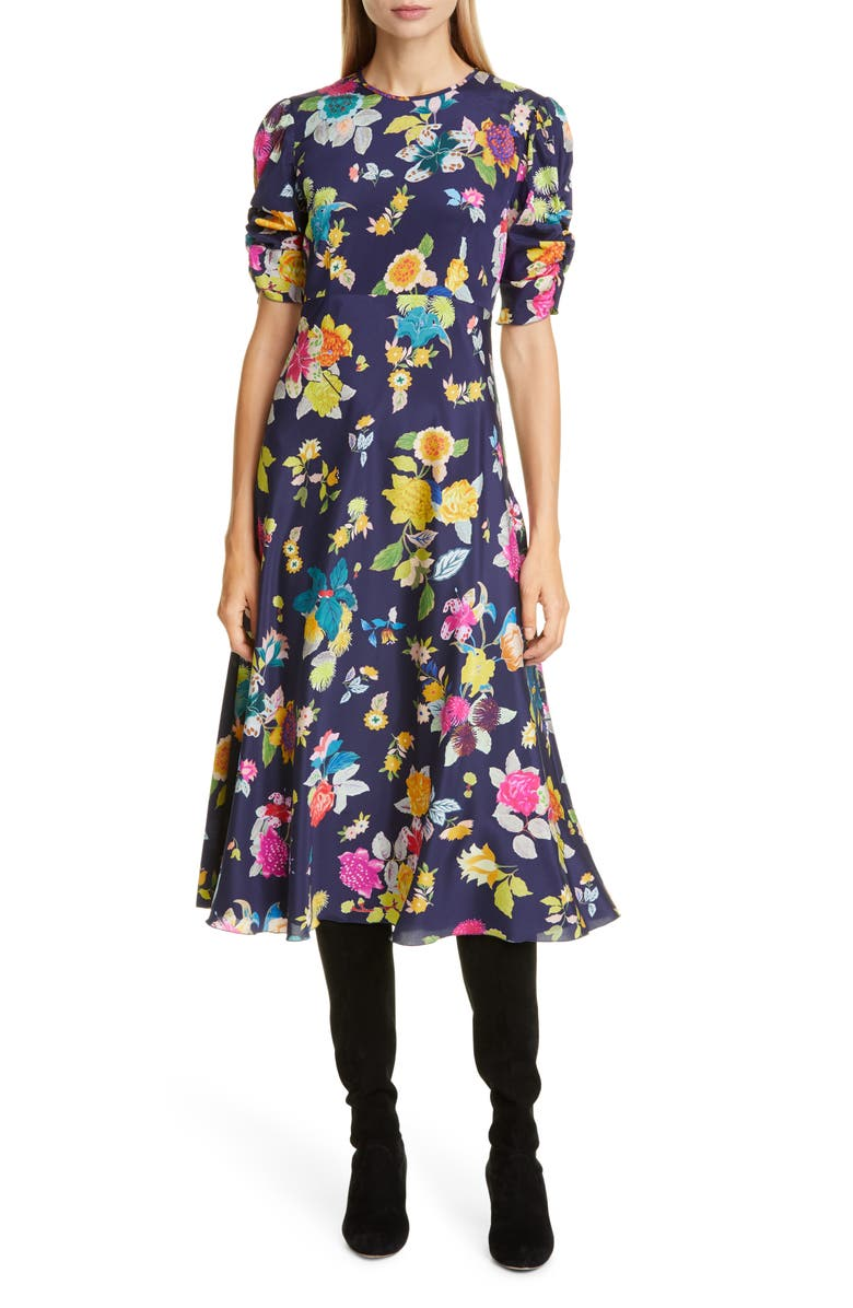 ETRO Floral Print Ruched Sleeve Midi Dress, Main, color, 410