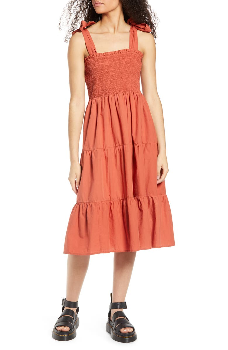 ONLY Maggie Tie Strap Tiered Sundress, Main, color, HOT SAUCE