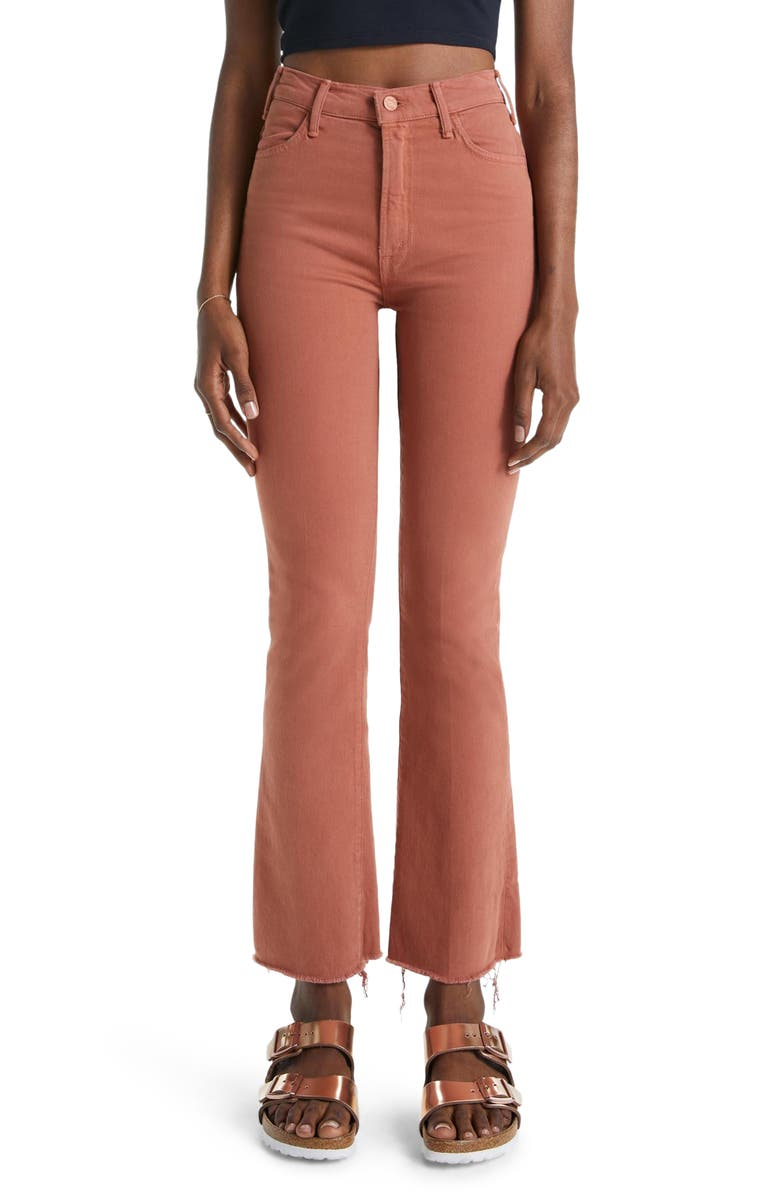MOTHER The Hustler Frayed Ankle Jeans, Main, color, COCONUT SHELL
