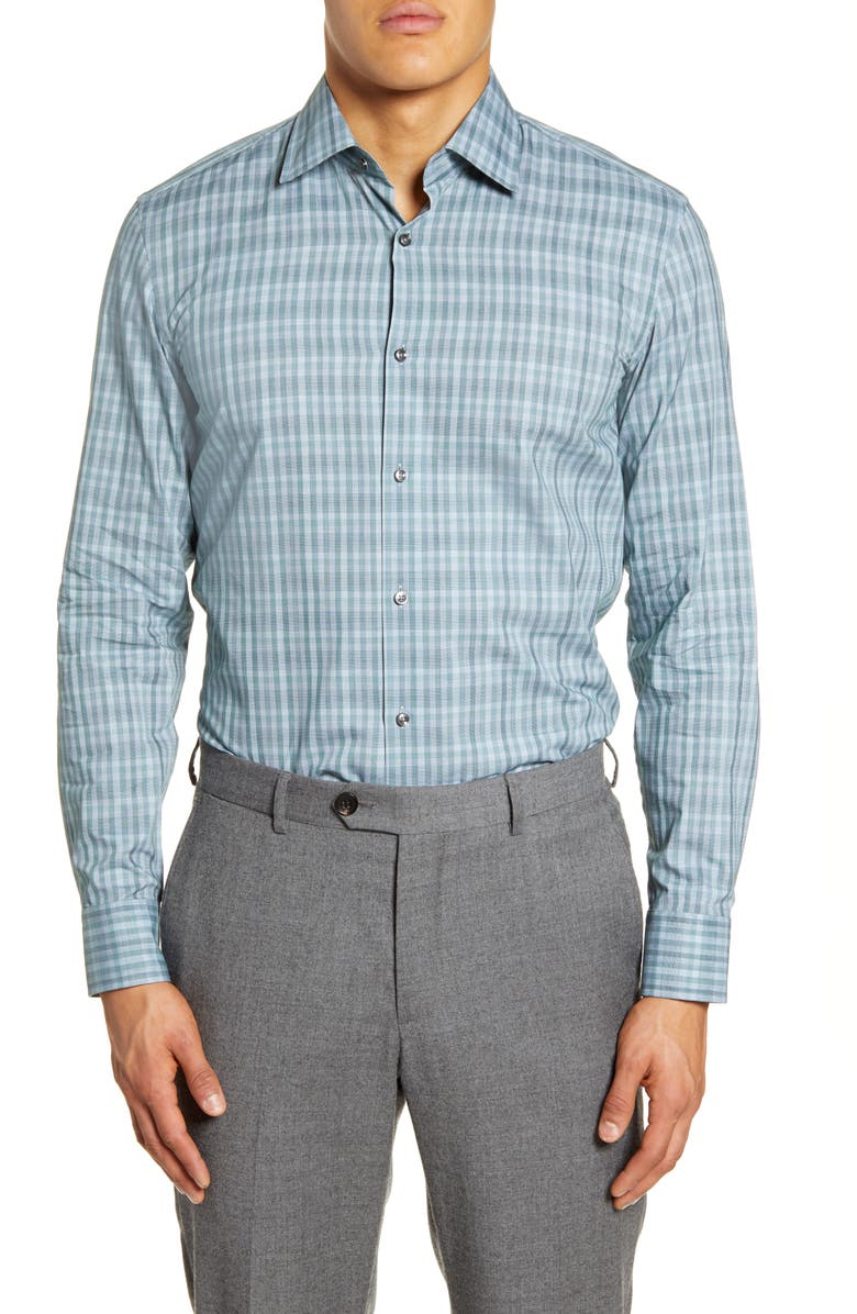 BOSS Slim Fit Plaid Dress Shirt, Main, color, 350