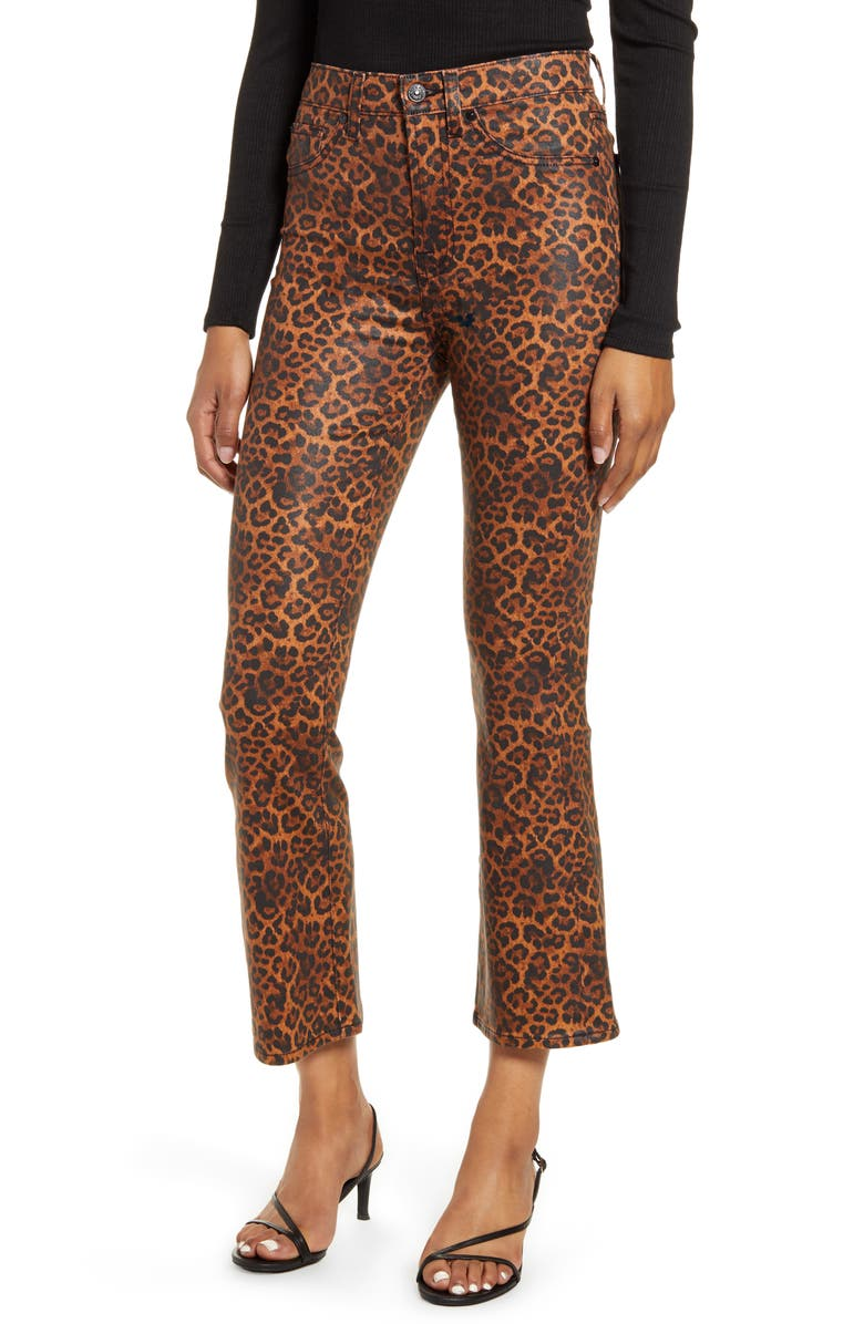 7 FOR ALL MANKIND<SUP>®</SUP> 7 For All Mankind Coated Leopard Print Slim Fit Kick Flare Jeans, Main, color, 201