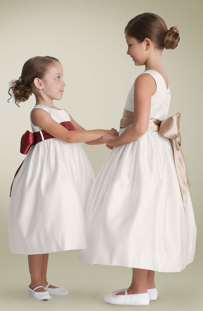 US ANGELS Sleeveless Satin Dress with Contrast Sash, Main, color, 250