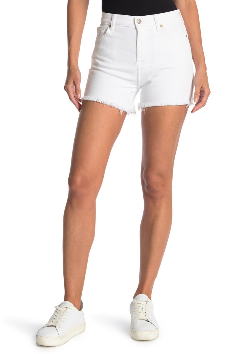 7 FOR ALL MANKIND High Waisted Shorts, Main, color, WHITE