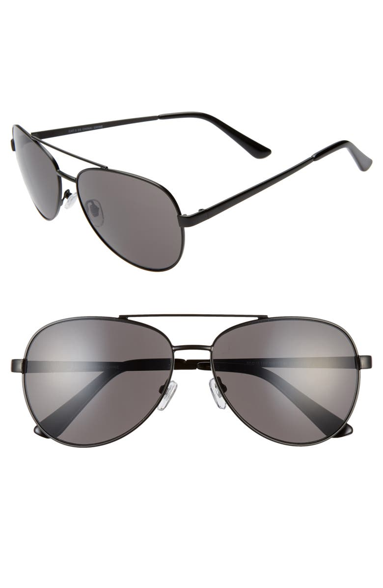 BP. Rhett 60mm Aviator Sunglasses, Main, color, 001