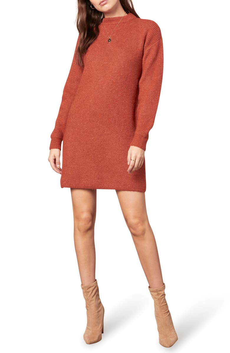 CUPCAKES AND CASHMERE Twain Long Sleeve Sweater Minidress, Main, color, RUST