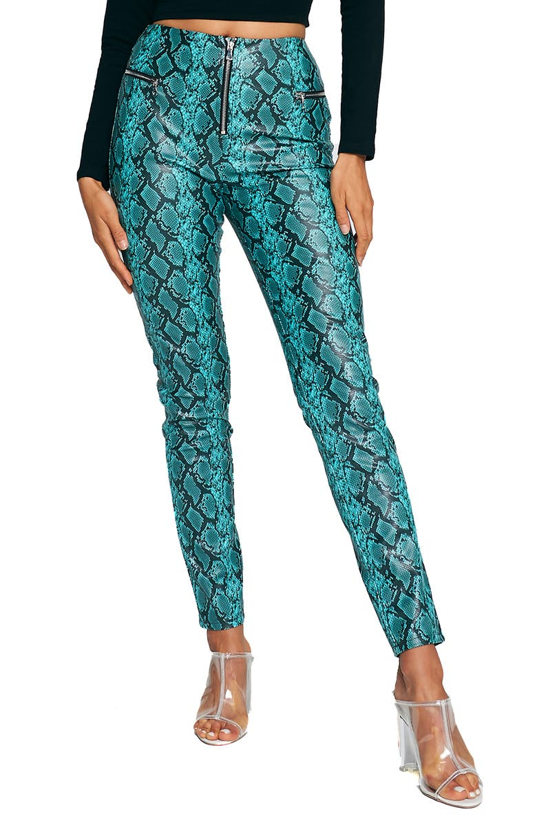 TIGER MIST Pearl Snake Print Faux Leather Pants, Main, color, 400