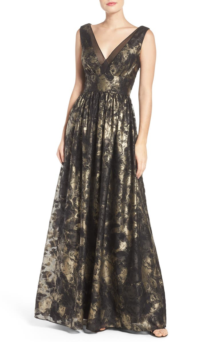 VERA WANG Metallic Fit & Flare Gown, Main, color, 006