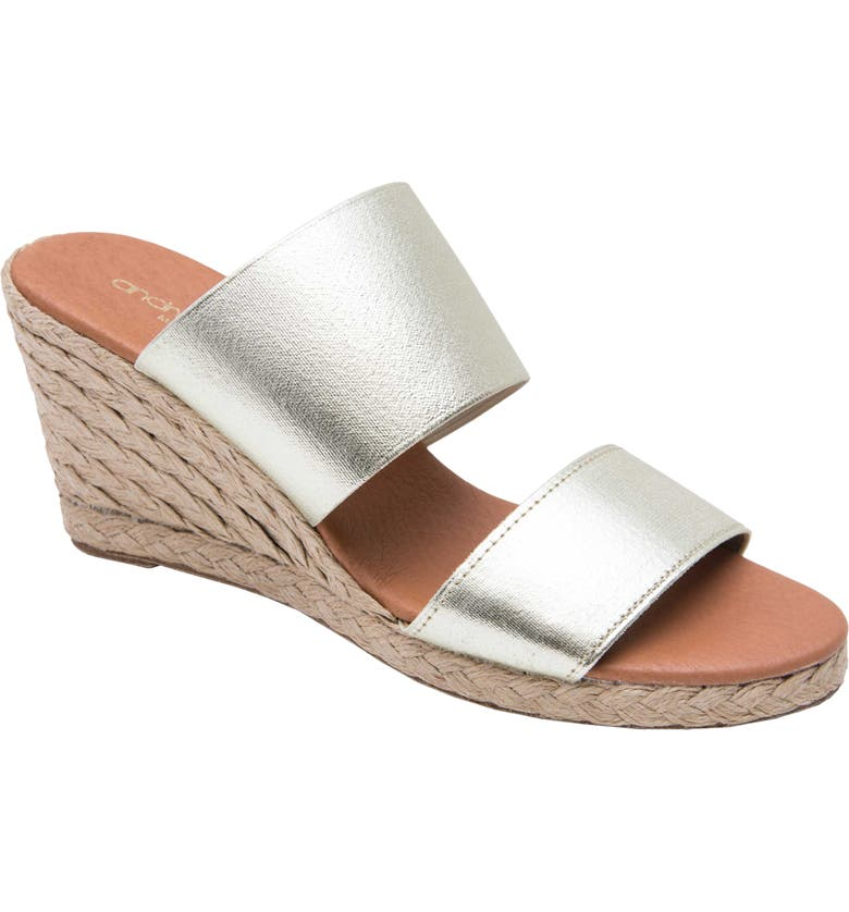 ANDRÉ ASSOUS Amalia Strappy Espadrille Wedge Slide Sandal, Main, color, PLATINO FABRIC