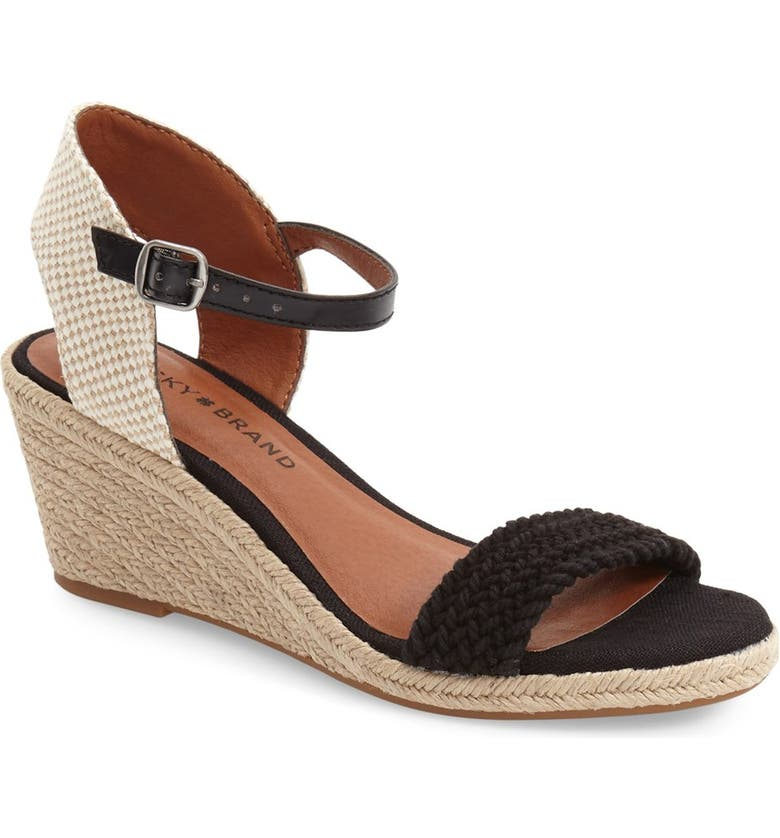 LUCKY BRAND 'Katereena' Wedge Sandal, Main, color, 001