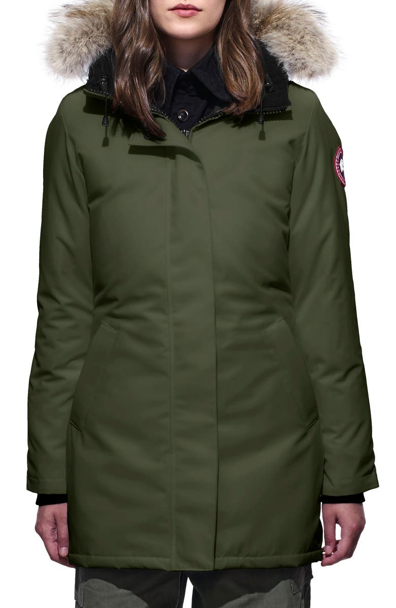 CANADA GOOSE Victoria Fusion Fit Down Parka with Genuine Coyote Fur Trim, Main, color, 341