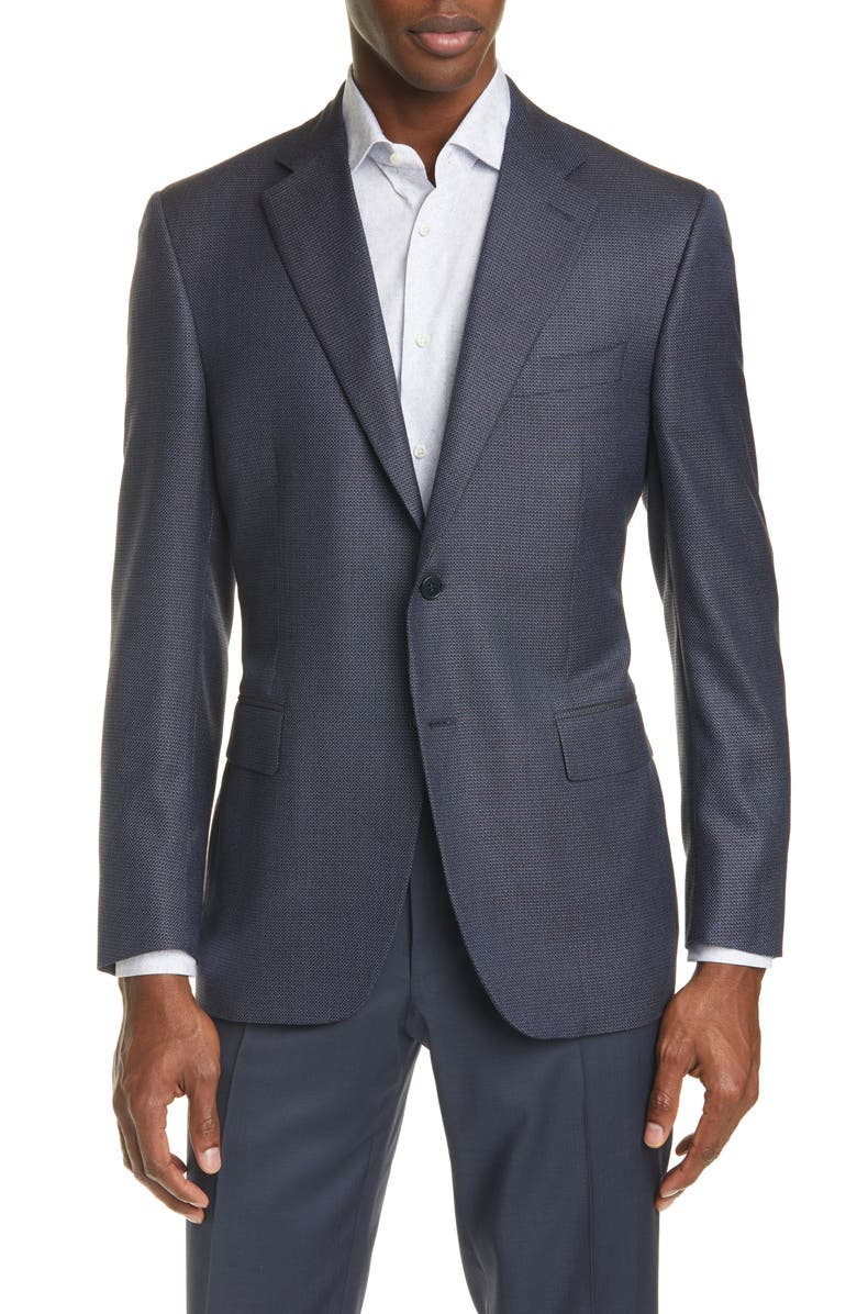 CANALI Siena Classic Fit Solid Silk & Wool Blazer, Main, color, 410