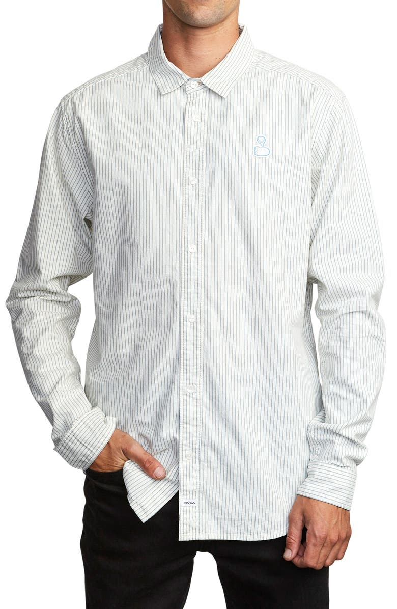 RVCA Hi-Grade Pinstripe Button-Up Shirt, Main, color, 106