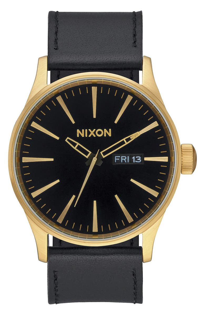 NIXON The Sentry Leather Strap Watch, 42mm, Main, color, BLACK/ BLACK/ GOLD