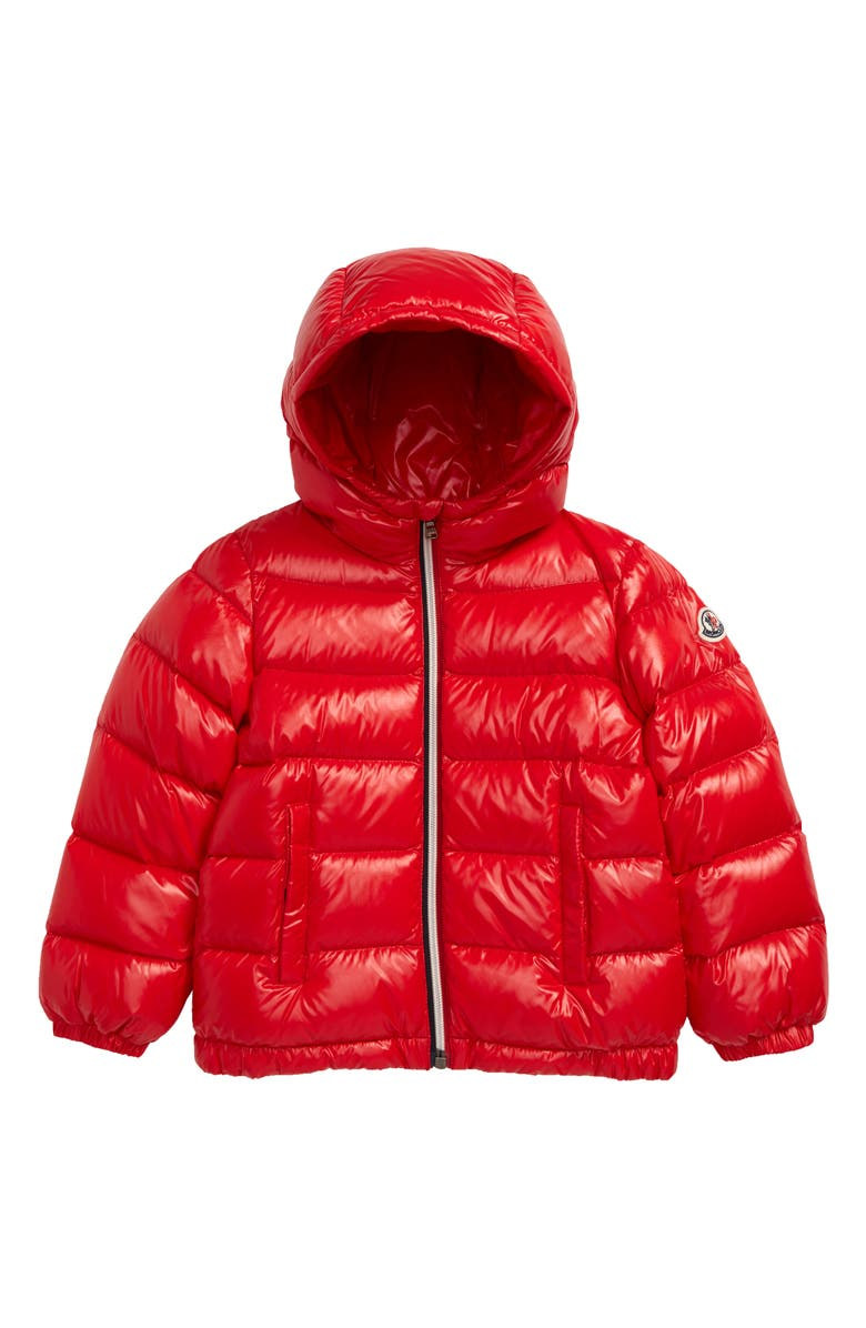 MONCLER New Aubert Hooded Down Jacket, Main, color, RED