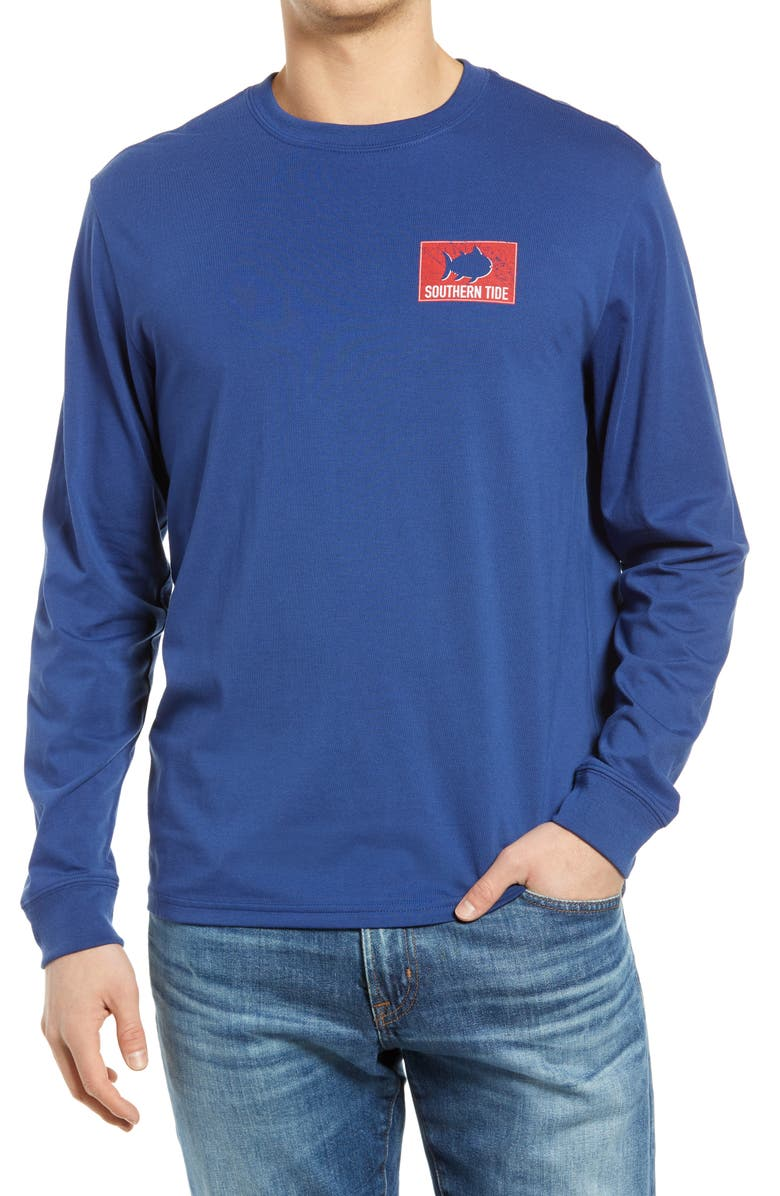 SOUTHERN TIDE Shark Flag Long Sleeve Graphic Tee, Main, color, BLUE NIGHT