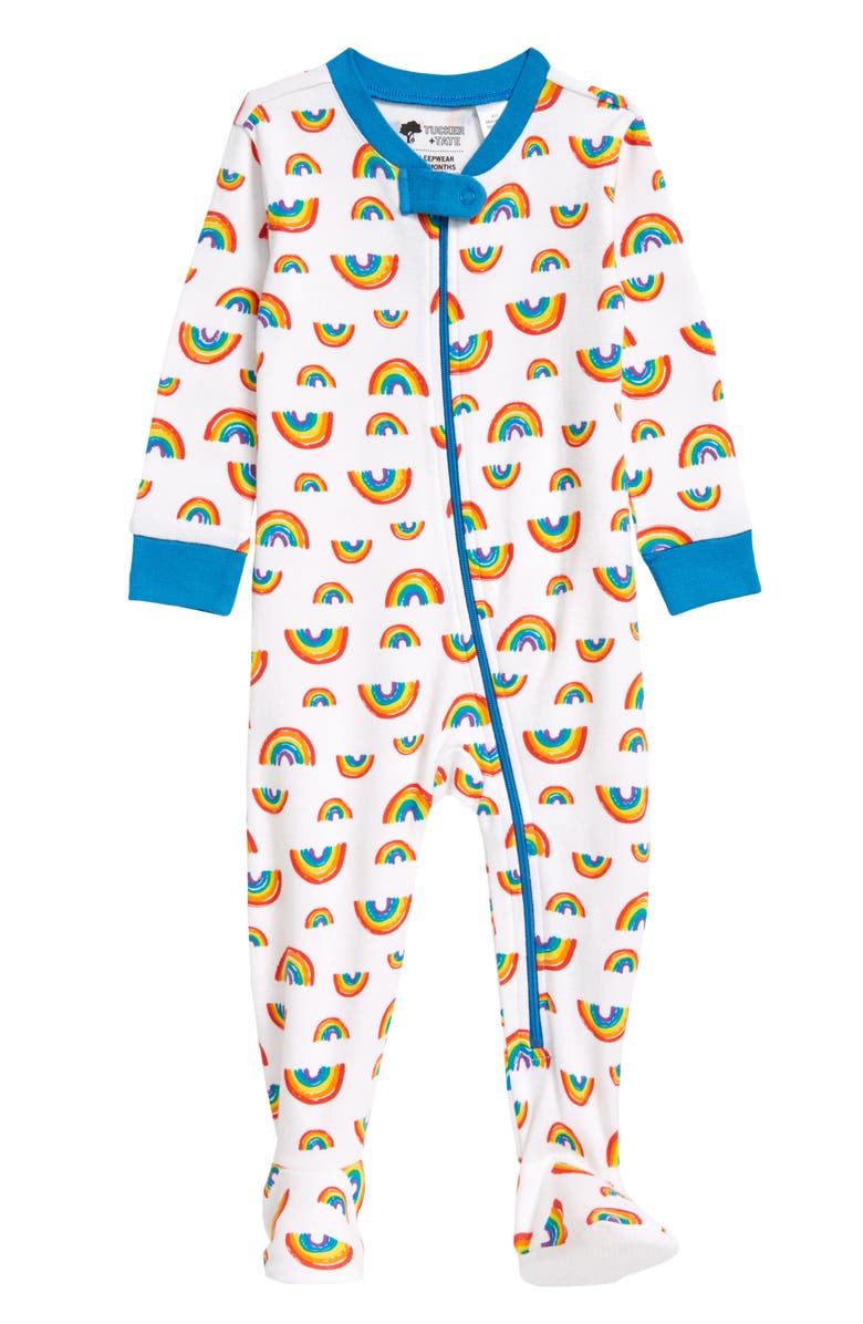 TUCKER + TATE Print Fitted One-Piece Pajamas, Main, color, WHITE RAINBOW FIELD