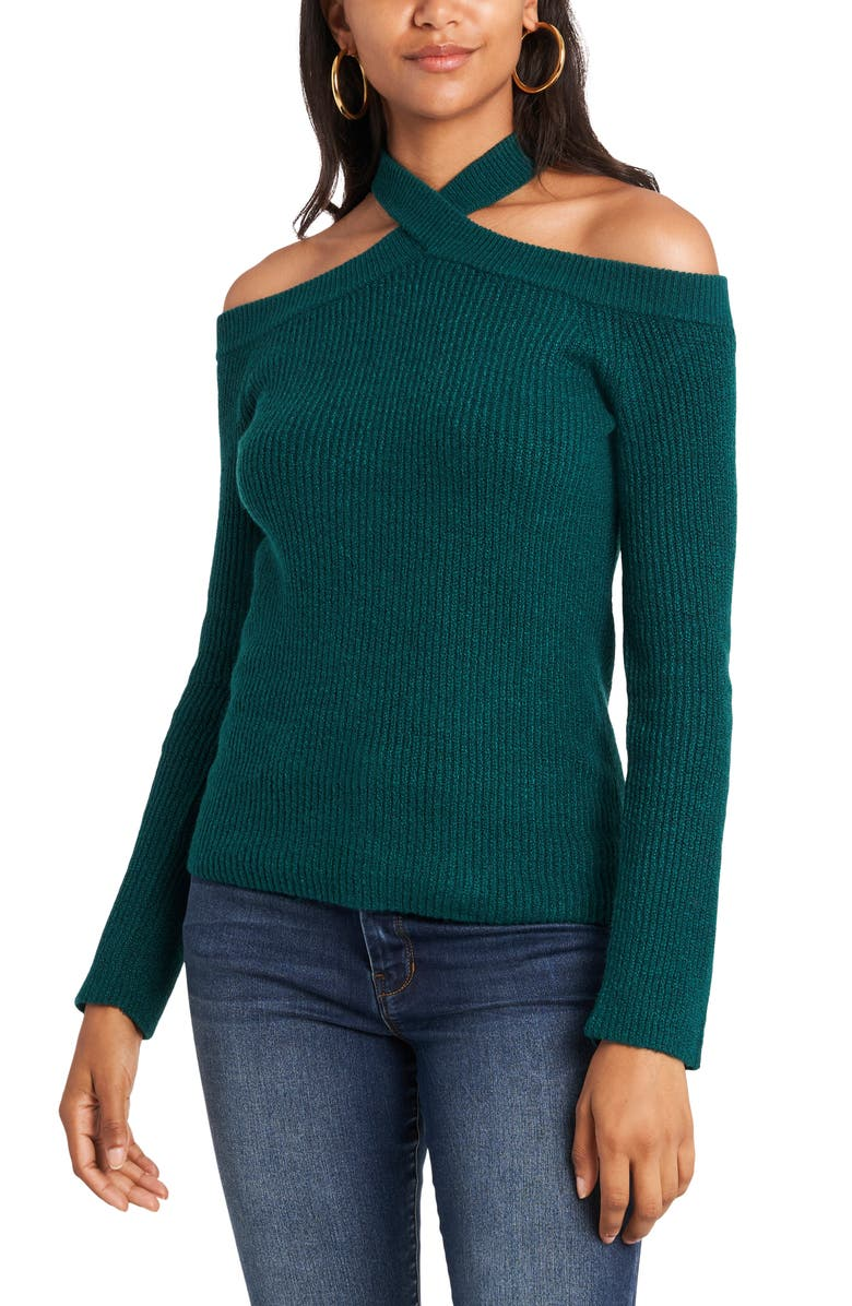 1.STATE Cross Neck Cold Shoulder Cotton Blend Sweater, Main, color, GREEN FOREST
