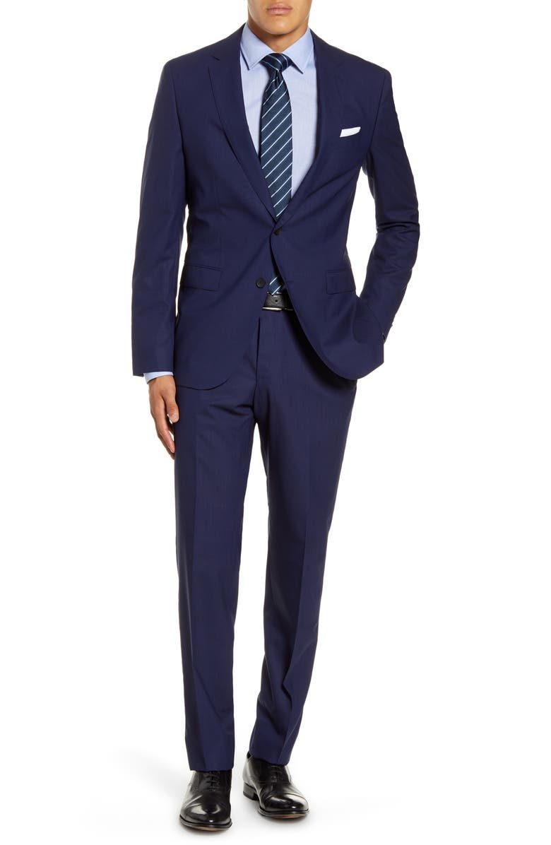 BOSS Novan/Ben Trim Fit Windowpane Wool Suit, Main, color, 402