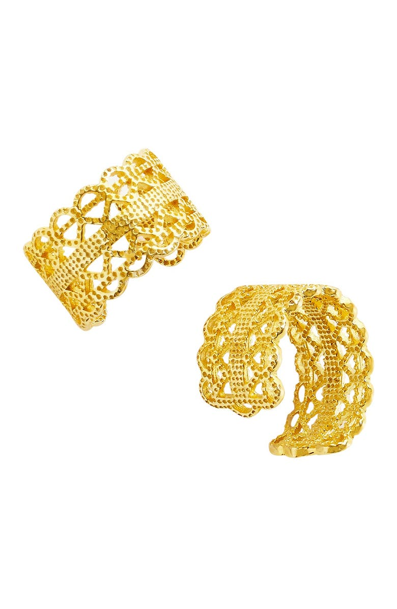 STERLING FOREVER 14K Gold Intertwined Ear Cuffs - Set of 2, Main, color, GOLD