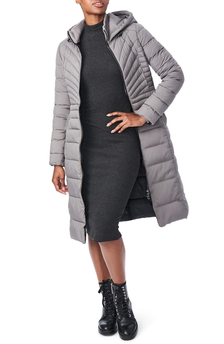 BERNARDO Hooded Long Quilted Coat, Main, color, CHARCOAL