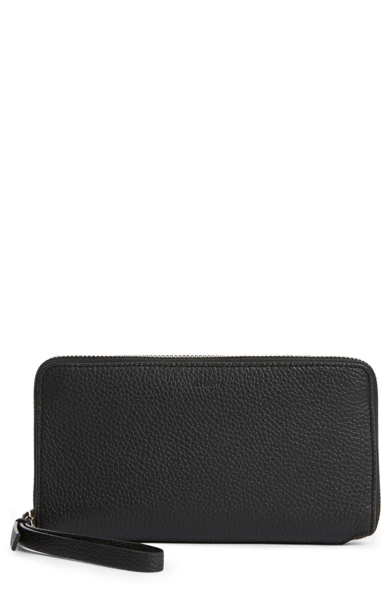 ALLSAINTS Fetch Leather Phone Wristlet, Main, color, BLACK