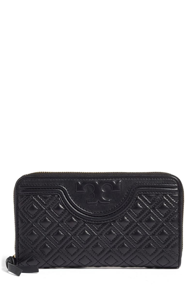 TORY BURCH 'Fleming' Quilted Lambskin Leather Continental Wallet, Main, color, 012