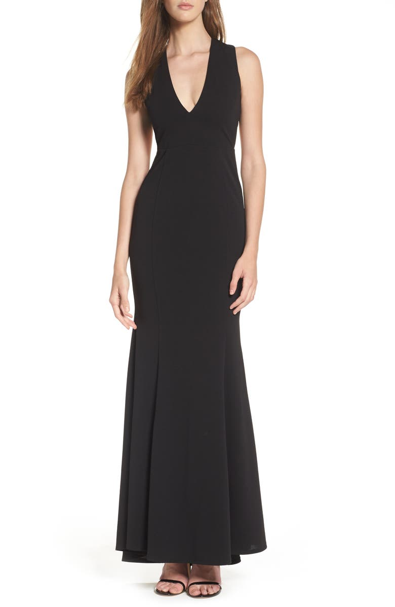 LULUS Heaven & Earth Plunge Neck Gown, Main, color, 001