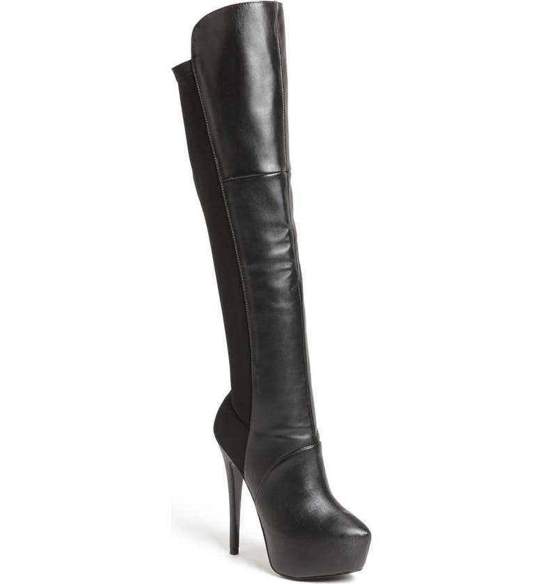 STEVE MADDEN 'Highting' Over the Knee Pointy Toe Stretch Boot, Main, color, BLACK MULTI