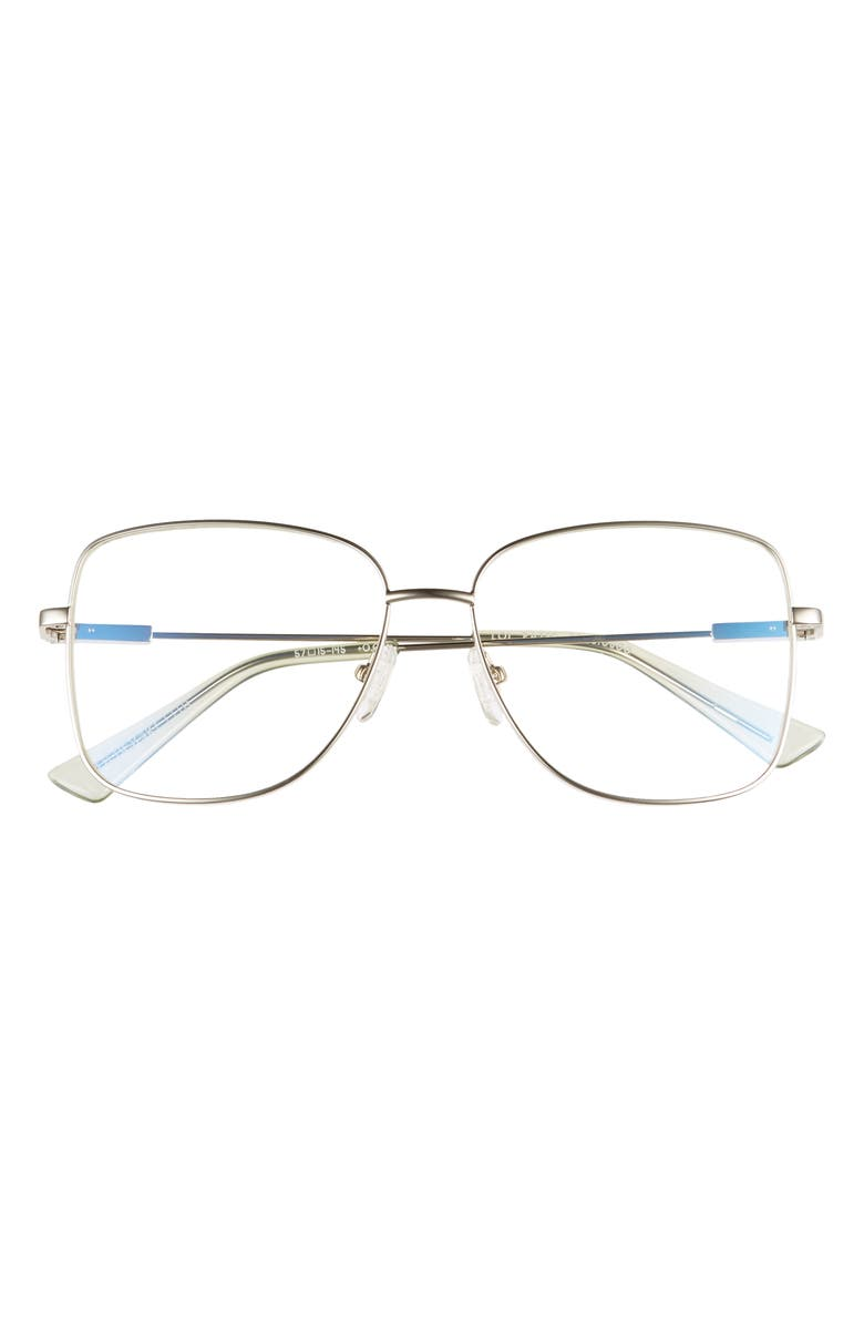 THE BOOK CLUB LOL Eaters 57mm Blue Light Blocking Reading Glasses, Main, color, Silver