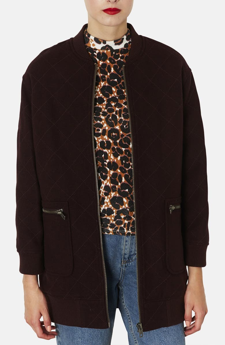 TOPSHOP Quilted Long Bomber Jacket, Main, color, 930