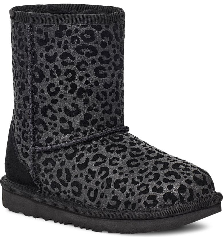 UGG<SUP>®</SUP> Classic II Glitter Leopard Boot, Main, color, BLACK