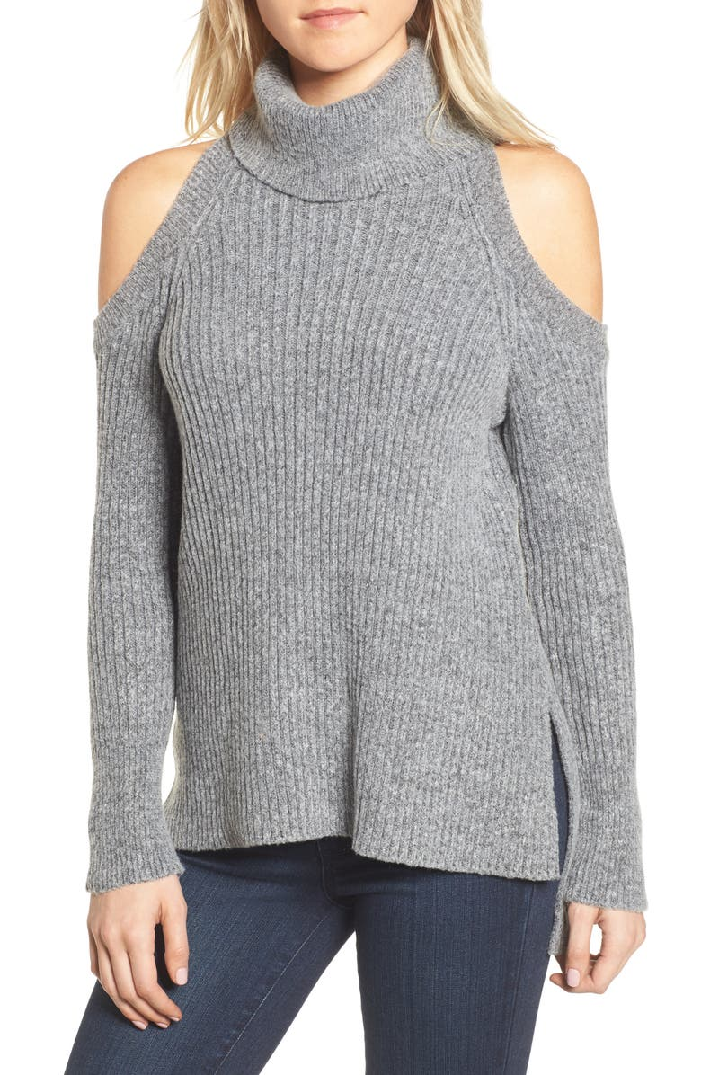 CUPCAKES AND CASHMERE Rodell Cold Shoulder Sweater, Main, color, MEDIUM HEATHER GREY